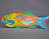 Large Tropical Fish Colorful Wood Puzzle Toy Hand Cut with Scroll Saw