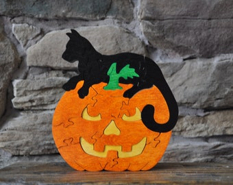 Jack O Lantern Pumpkin with Black Cat Halloween Fall Puzzle Wooden Toy Hand Cut with Scroll Saw