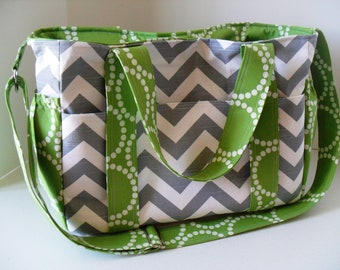 Extra Large Chevron Diaper bag - Green Interior - Messenger Bag - Tote Bag - Diaper Bag - Chevron Diaper Bag - Monogramming Available