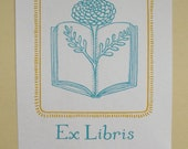 Flower Book Bookplates - Set of 12 Bookplates - reading books library gold mustard blue librarian zinnia