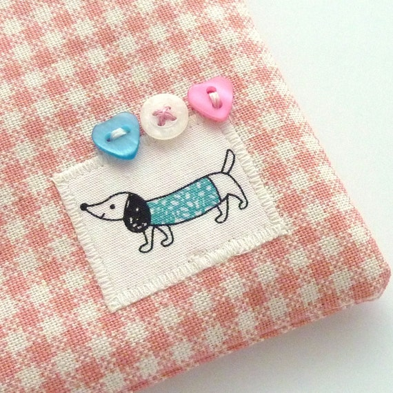 Dachshund coin purse in pink gingham with turquoise