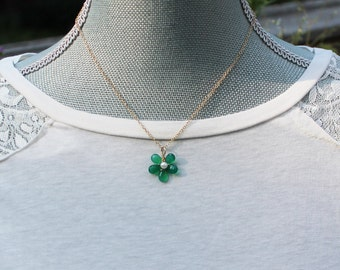 Green Onyx and Freshwater Pearl 14k Gold Fill Flower Necklace