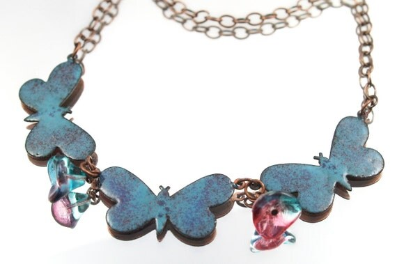Butterflies Enamel Necklace Kiln Enameled One-of-a-Kind Handmade Butterfly Necklace