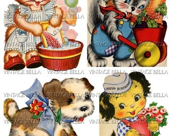Vintage 1940s Animal Birthday Greeting Card Digital Download 252 - by Vintage Bella