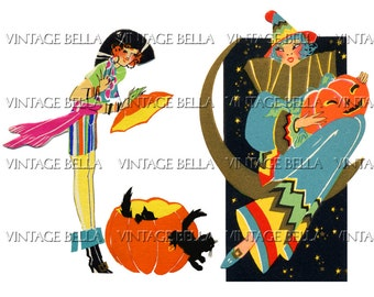 Vintage Art Deco Halloween 1930s BRIDGE TALLY Jack-o-lantern JOL Pirate and Clown Ladies - Digital Download 303 - by Vintage Bella