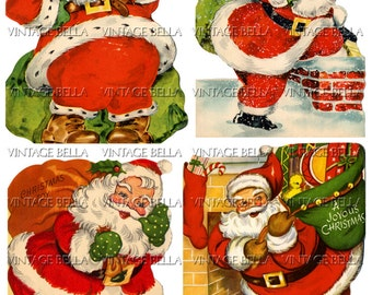 Vintage Christmas 1940s Santa Claus Greeting Card Digital Download 314 Collage Sheet - by Vintage Bella