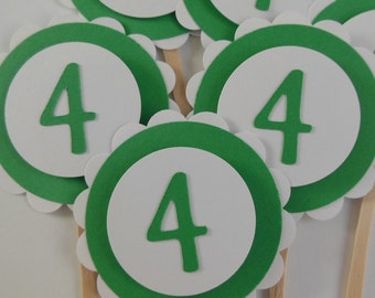 4th Birthday Cupcake Toppers - Green and White - Child Birthday Party Decorations - Set of 6