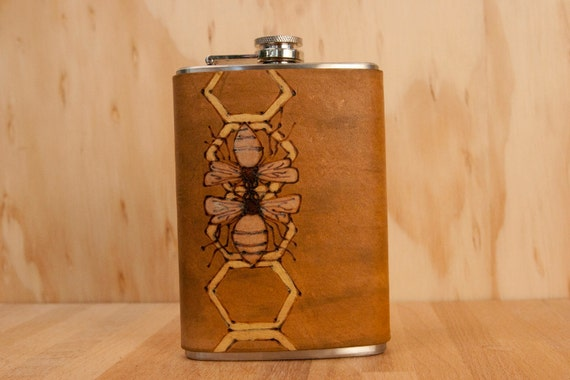 Hive Flask - Leather in Yellow, Silver and antique brown - Stainless Steel 8oz