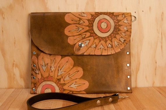 Leather Pouch - Emma pattern with flower - pink, silver and antique brown