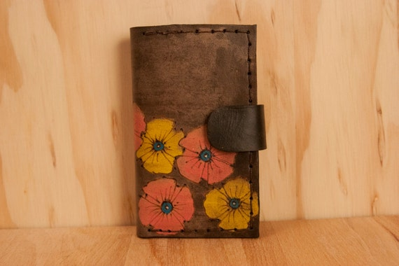 Leather iPhone 4 Case - Poppy Garden pattern in yellow, pink and antique black