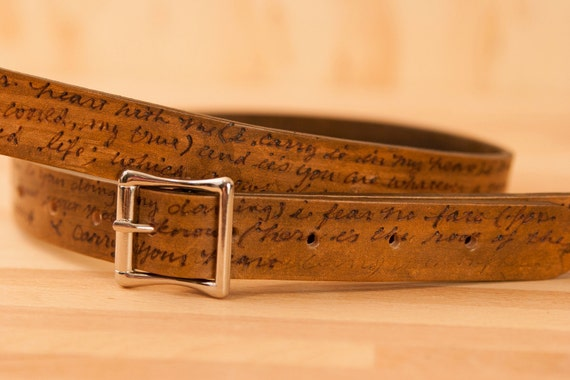 Leather Mandolin Strap - Personalized Smokey Pattern - Antique Brown