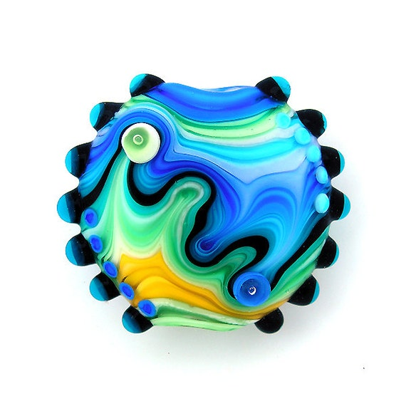 Rainbow Lampwork bead lentil blue focal. Free worldwide shipping