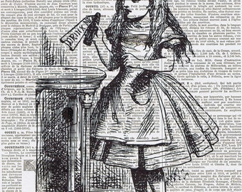 Alice in Wonderland, Drink Me, Antique French Book Page Print.Altered art,buy 3 get 1 FREE, upcycled.dorm room deco.wall hanging