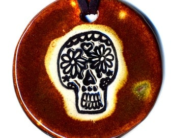 Calavera or Sugar Skull Ceramic Necklace In Brown