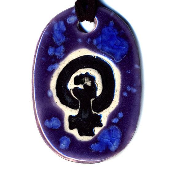 Feminist Symbol Ceramic Necklace in Purple and Blue