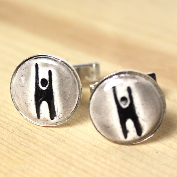 Humanist Silver Plated Ceramic Inlaid Cufflinks