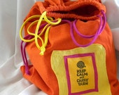 Keep Calm and Carry Yarn Larger Sized Project Bag Wristlet Pouch ONE Repurposed Tee Shirt Sleeves NOT lined