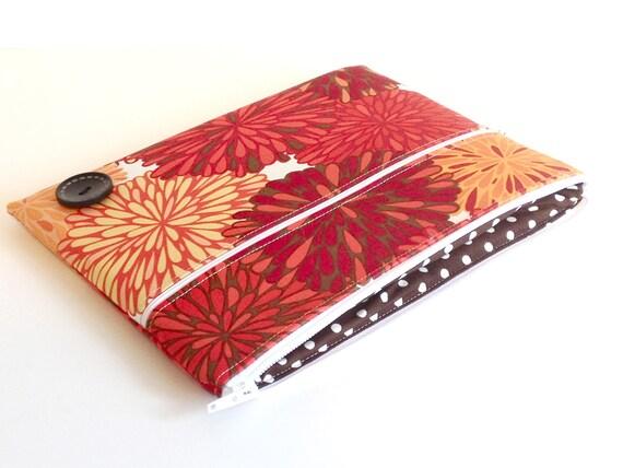 iPad Case, iPad Sleeve, iPad Cover, PADDED, Zippered Orange and Red Flowers