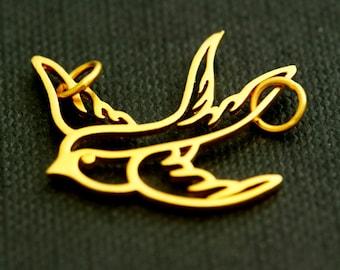 Sale - Thai 24k Vermeil Swallow Bird Charm/Pendant 21.3 x 24mm