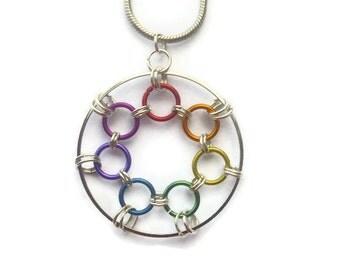 Spirograph Rainbow Necklace