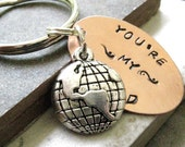 You're My World Keychain with world charm, valentines day gift, couples gift, anniversary gift, optional personalized initial disc
