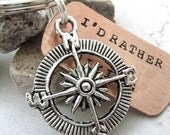 Compass Keychain, I'd Rather Be Hiking keychain, silver compass charm, hiker's gift, explorer gift, optional initial disc, see pics