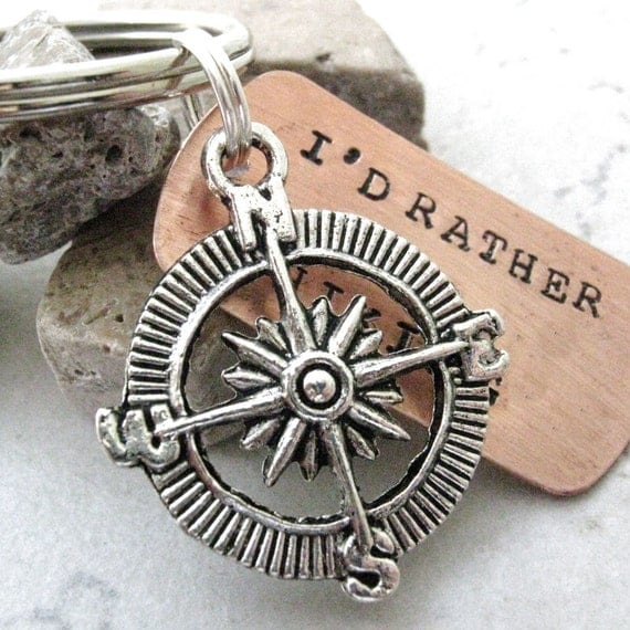 I'd Rather Be Hiking Keychain, with silver compass charm and split ring, great gift for the outdoorsman, optional initial disc, see pics