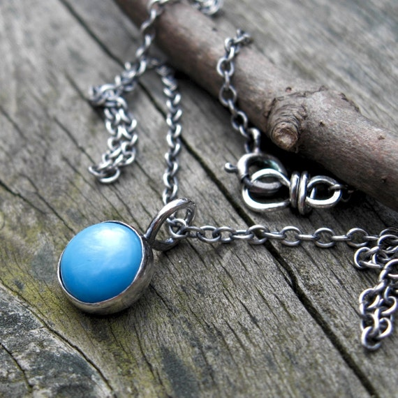 Sleeping beauty turquoise sterling silver button necklace