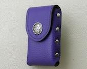 Purple Leather Cigarette Case with Floral  Concho