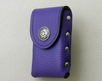 Purple Leather Cigarette Case with Floral  Concho