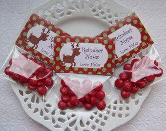 Printable Personalized Christmas Reindeer Noses Mini Bag Toppers