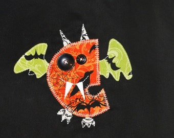 Personalized Halloween Bag with Goofy Bat Made From First Initial, Glow in the Dark, Halloween Treat Bag, Halloween Party, Vampire Bat