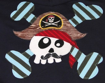 Navy Fleece Lined Hoodie with Funny Skull and crossbones Pirate, Pirate Gift, Mustache Gift, Pirate Party, Camp Hoodie, Skull Pirate Gift