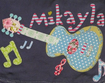 Personalized Canvas Messenger Bag in Color Denim with Guitar and Music Notes, Kids Personalized Bag, Guitar Bag, Music Bag, Baby Bag, Camp