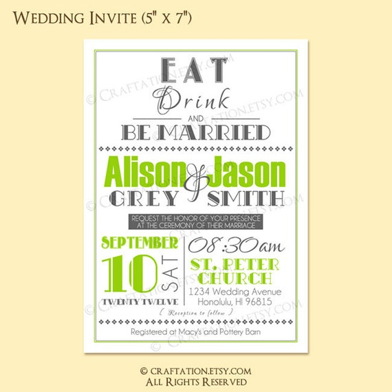 Custom Modern Retro Wedding Invitation Invite / RSVP Digital Design Set - Eat Drink & Be Married / Old Fashioned / Typography - Printable