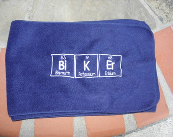 Chemistry BiKEr Scarf Navy Blue Science Geek Embroidered Nerd Geek Scarves - Made to Order