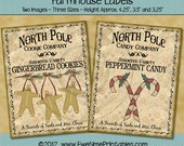 Instant Download - Printable Farmhouse Labels - North Pole - Digital PDF or JPG File