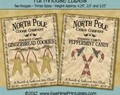 Instant Download - Printable Farmhouse Labels - North Pole - Digital PDF or JPG File