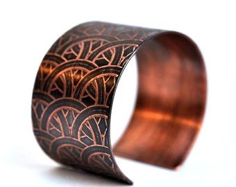 Handmade Interlaced Circles Copper Cuff Bracelet Etched