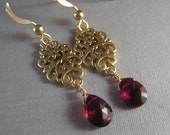 Garnet Earrings, Faceted Garnet Gemstone Briolette Earrings