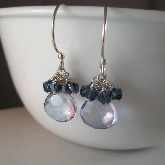 Mystic Quartz Earrings, Faceted Briolette Earrings, Crystal Cluster Earrings, Blue Earrings