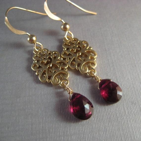 Garnet Earrings, Faceted Garnet Gemstone Briolette Earrings