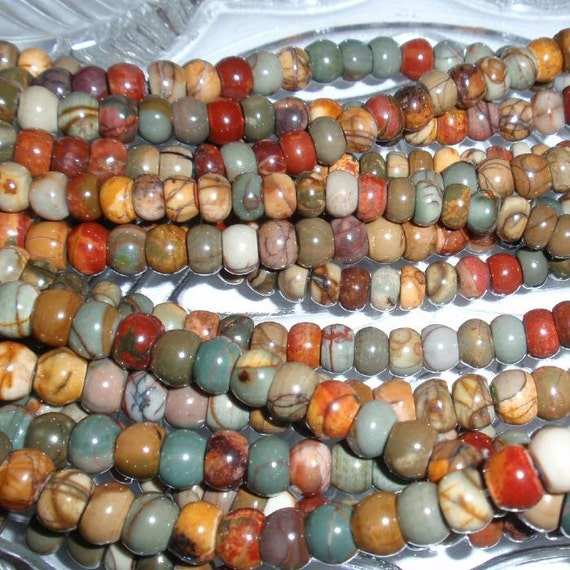 Red Cherry Creek Jasper Rondelle Gemstone FULL Bead Strand