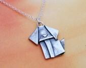Silver Origami Dog Mini Pendant Hand Folded Fine Silver