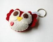 Eco friendly Plush Owl Keychain In Burgundy