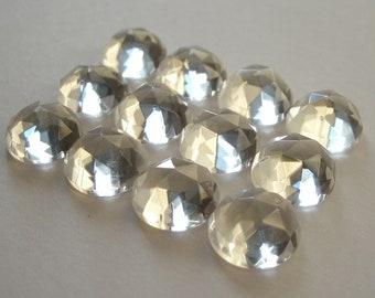 Gemstone Cabochons Quartz Clear Rose Cut 8mm FOR FOUR