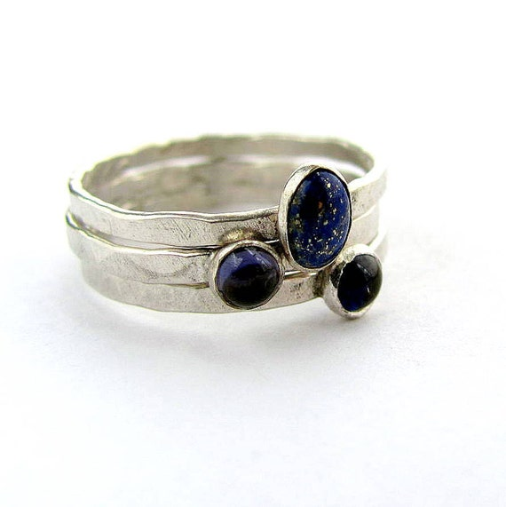 Lapis lazuli ring stack, synthetic sapphire, iolite, hammered sterling silver ring set, size10