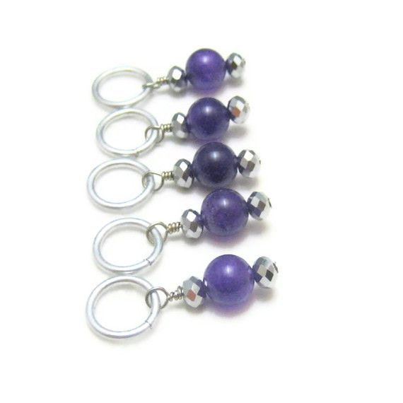 Row Markers Knitting Stitch Markers Dark by SilverRiverStitches