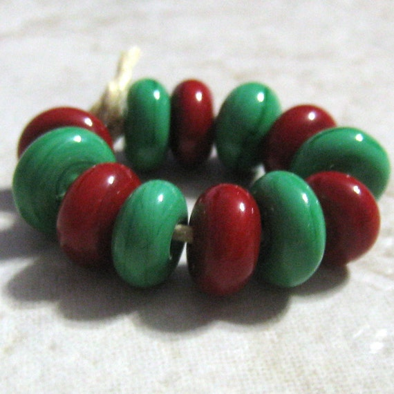 Red and Green Handmade Lampwork Mini Glass Bead Spacers