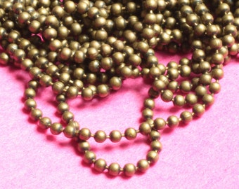 Antique brass ball chain 1.5mm ball, a pack of 5 ft (item ID YWAB1.5ZL)
